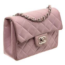 Chanel Purple Quilted Leather Classic Mini Square Flap Bag