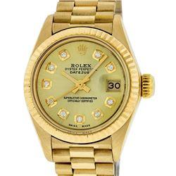 Rolex Ladies 18K Yellow Gold Champagne Diamond Datejust President Wristwatch Wit