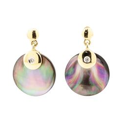 0.03 ctw Black Mother of Pearl and Diamond Circle Dangle Earrings - 14KT Yellow