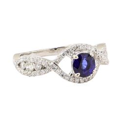1.43 ctw Blue Sapphire And Diamond Ring - 18KT White Gold