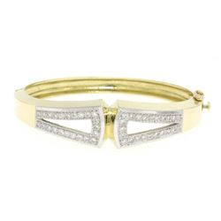 Estate 14K Solid Two Tone Gold Hinged Open Bangle Bracelet with Pave Diamonds