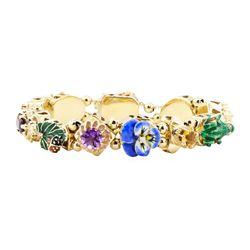 Multi-Colored Gemstone Vintage Slide Charm Bracelet - 14KT Yellow Gold