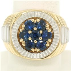Men's 14k Two Tone Gold 2.50 ctw Round Sapphire Cluster Ribbed BOLD Ring