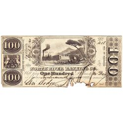 1850 $100 North River Banking Co, NY Obsolete Note