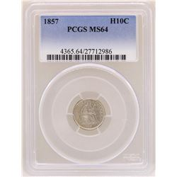 1857 Seated Liberty Half Dime Coin PCGS MS64
