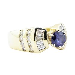 1.88 ctw Sapphire And Diamond Ring - 14KT Yellow Gold