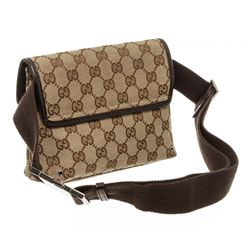 Gucci Brown Beige Canvas Leather Jackie GG Waist Bag