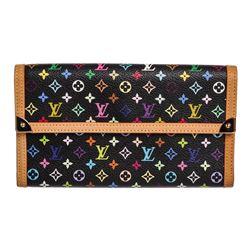 Louis Vuitton Black Multicolor Monogram Canvas Leather Porte Tresor Wallet