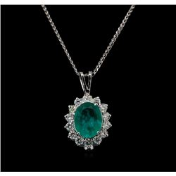 14KT White Gold 2.95 ctw Chrysoprase and Diamond Pendant With Chain