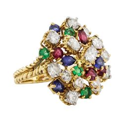 7.08 ctw Ruby, Emerald, Sapphire, and Diamond Ring - 18KT Yellow Gold and Platin