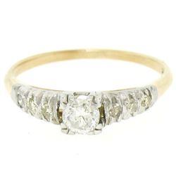 14K Two Tone Gold .40 ctw European Cut Diamond Solitaire Engagement Ring