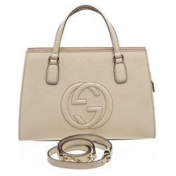 Gucci Cream White Grained Leather Soho Top Handle Bag