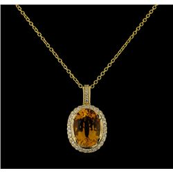 5.45 ctw Citrine and Diamond Pendant With Chain - 14KT Yellow Gold
