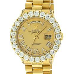 Rolex Mens 18K Yellow Gold Champagne Diamond 6.5 ctw Quickset President Wristwat