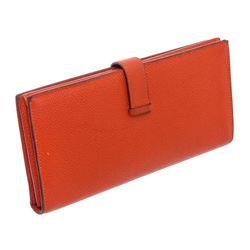 Hermes Orange Epsom Leather Bearn Wallet
