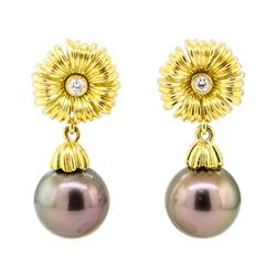 0.10 ctw Diamond and Tahitian Pearl Floral Earrings - 18KT Yellow Gold
