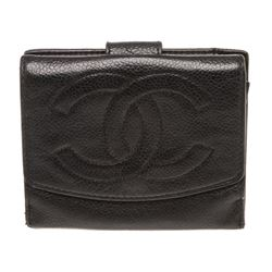Chanel Vintage Black Caviar Leather CC French Purse Wallet