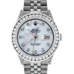 Rolex Mens Stainless Steel MOP 3 ctw Diamond Datejust Wristwatch With Wooden Wat
