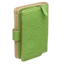 Chanel Green Camelia Leather French Purse Wallet
