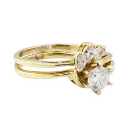 0.65 ctw Diamond Ring & Wedding Band - 14KT Yellow Gold