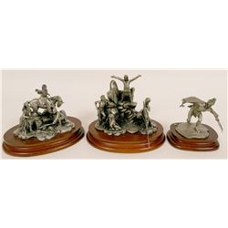 Three Pewter American Indian Sculptures  (116689)