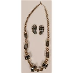 Silver Barrel Necklace Set  (117006)