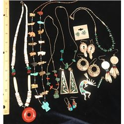 Native American Indian Jewelry Lot, 12 Pieces Silver, Turquoise, Coral...  (116154)