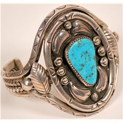 Vintage Navajo Turquoise and Silver Bracelet  (117031)