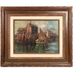 "Oil Painting/ "" Eastern Harbor"" / By Mottola  (109672)"