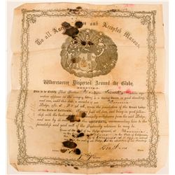 Benicia F&AM (Free & Accepted Masons) Membership Certificate  (113181)