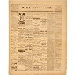 Bodie Daily Free Press Official Journal of Mono County 1882 Newspaper  (110381)