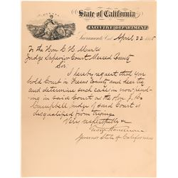 Letter Signed by California Governor George Stoneman  (113143)