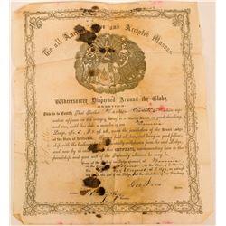 Sierra City F&AM Membership Certificate  (113182)