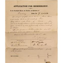 Masons Membership Application for Ft. Churchill, NV  (113192)