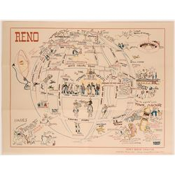 1930s Advertising Map of Reno by Nevada Artist Robert Cole Caples  (116039)