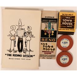 "Reno ""Town House"" Casino Ephemera incl. Rare Gaming Chips  (115745)"