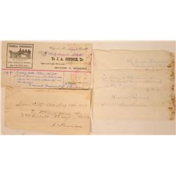 Virginia City Undertaker Billhead & Hospital Receipts for Miner  (113198)
