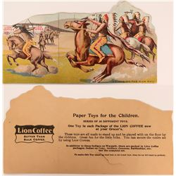 Rare Trade Card for Lion Coffee: Indians Attacking Wagon Train  (113149)