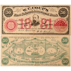 W.C. Coup's First National Amusement Bank faux bank note  (116197)