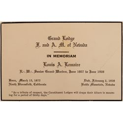 Louis A. Lemaire In Memoriam Card (Battle Mountain Bottle)  (113183)