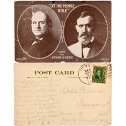 Rare Bryan / Kern Presidential Ticket Postcard  (113103)