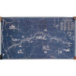Pony Express Map, Blueprint Style  (109467)