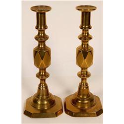 Queen of Diamond Brass Candlesticks  (109840)