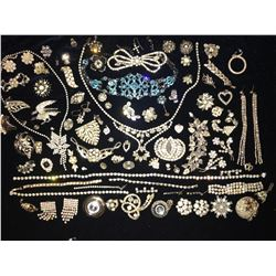 Rhinestones, Faux Diamonds, Ice, Zircons, Designer Costume Jewelry (Over 100 Pieces)  (115519)