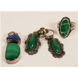 Malachite and Sterling Silver Vintage Jewelry Set (3 pieces)  (116164)