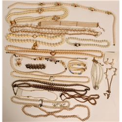 Vintage costume jewelry assortment of pearl necklaces and earrings. (lot 18)  (114781)