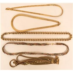 Vintage costume jewelry gold tone chains, wide usage (lot 16)  (115173)