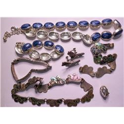 Vintage costume jewelry set in Abalone/Mother of Pearl (lot 5)  (115151)