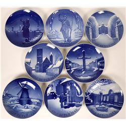 Bing and Grondahl Copenhagen Porcelain Christmas Plates Jul 1940,1942, 1943, 1944,1946, 1947,1948, 1