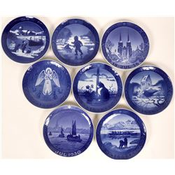 Royal Copenhagen Christmas Plates 9 years: 1926, 1930,1936, 1959, 1960, 1965,1966, 1968, 1970  (1162